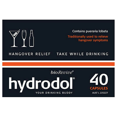 2 X Hydrodol Hangover Relief Value Pack 40 Capsules
