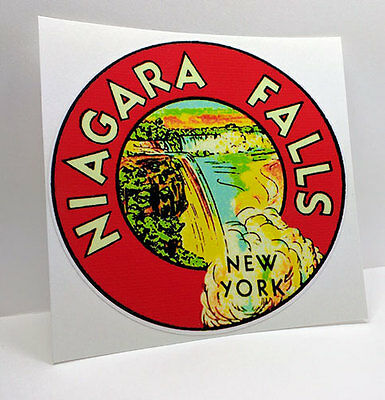 Niagara Falls New York Vintage Style Travel Decal / Vinyl Sticker, Luggage Label