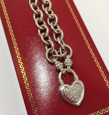 "Sterling Silver Diamond Pave Heart Pendant Wedding Wheat 925 Toggle 18"" Necklace"
