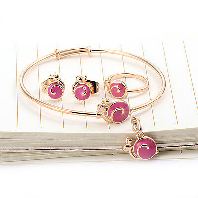 Cute Snails Baby Girls Childs Gold Filled Pendant  earrings Bracelet Jewelry set