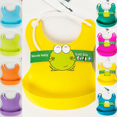 Feeding Lunch Bibs Saliva Unisex Kids Infant Waterproof Silicone Aprons Baby New