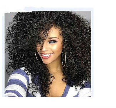 Womens Fashion Kinky Curly Afro Wig Long Black Hair Cosplay Anime Wig Synthetic