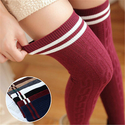 Women Knit Cotton Over The Knee Long Socks Striped Thigh High Stocking Socks New