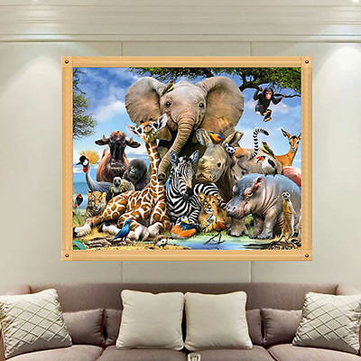 Animal Zoo Elephant 5D Diamond Embroidery Painting Cross Stitch Home Wall Decor
