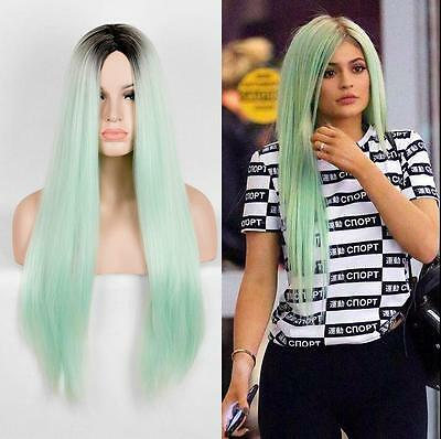 Lady Ombre Green Straight Synthetic Lace Front Wig Long Heat Resistant Hair Wigs