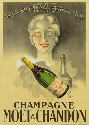 Champagne Moët & Chanon VINTAGE  SERVICE METAL TIN SIGN POSTER WALL PLAQUE