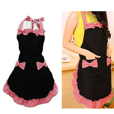 New Cute Bib Apron Dress Flirty Vintage Kitchen Women Bowknot with Pocket Gift