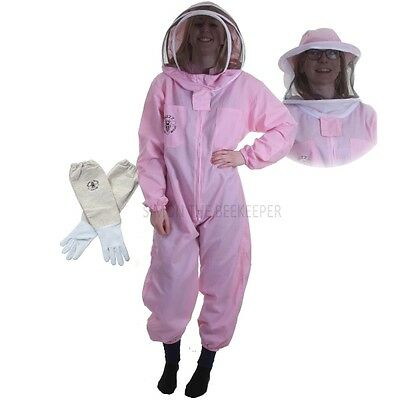 Beekeeping Pink Bee Suit with Veil Duo & Gloves - Buzz Basic - Choose Your Size