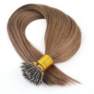 Nano Ring Tip 100% Remy Human Hair Extensions WITH RINGS ASH BROWN #8
