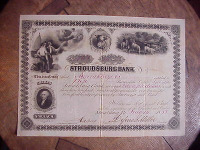 STROUDSBURG BANK Canceled Stock Certificate 1858