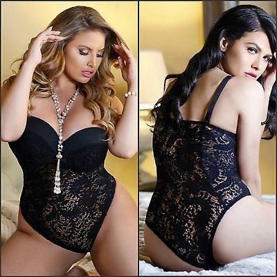 Ladies Sexy Black Push Up Cup Lace Teddy Babydoll Lingerie 8 10 12 14 16 18 20