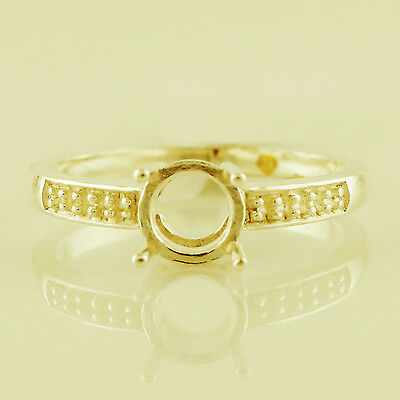 Amazing Semi Mount Round Shape 6 MM Ring Natural Gold Anniversary Gift Jewelry