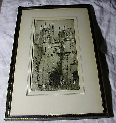 c1910 YORK CATHEDRAL & CITY WALL - Original Engraving - F ROUSON - FRAMED