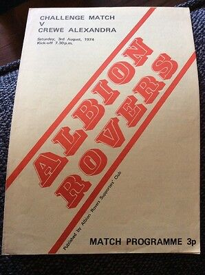 Albion Rovers v Crewe Alexandra 1974/75 Friendly Programme