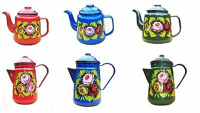 canal barge ware enamel and tea and coffee pots decorated with roses and daisies