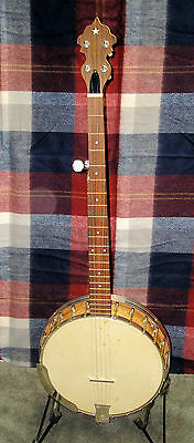 "1920""s LANGESTILE I TENOR BANJO W/ RESONATOR RENECKED TO 5 STRING PLAYS GREAT"
