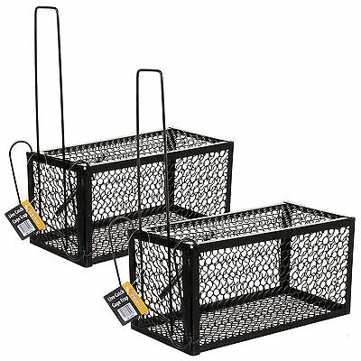 2x Rat Catcher Cage Trap Spring Humane Large Live Animal Rodent Indoor Outdoor