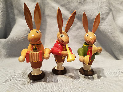 Vintage German wooden rabbit musicians accordian, cymbals, horn