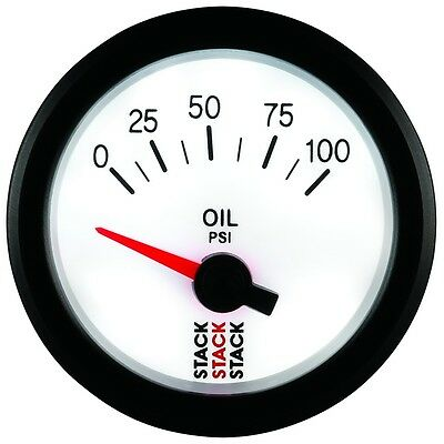 Stack 0-100 Psi Oil Pressure Gauge 52mm Electrical White face Illuminated 3252