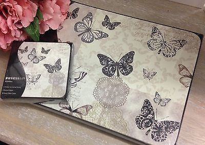Set Of 6 Shabby Vintage Chic Butterfly Theme Placemats & Coasters Set