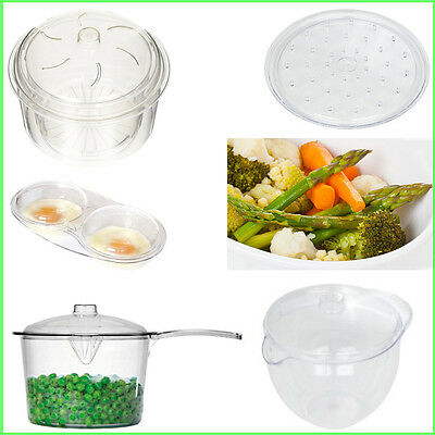 Easy-Cook Microwave Cookware Clear Plastic Cooking Saucepan Pan Jar Plate Trays