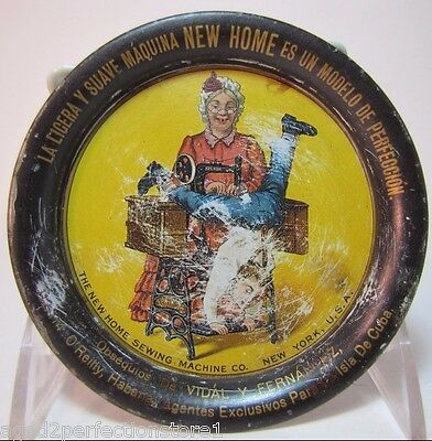 Antique NEW HOME SEWING MACHINE Co New York Advertising Tin Tip Tray early 1900s