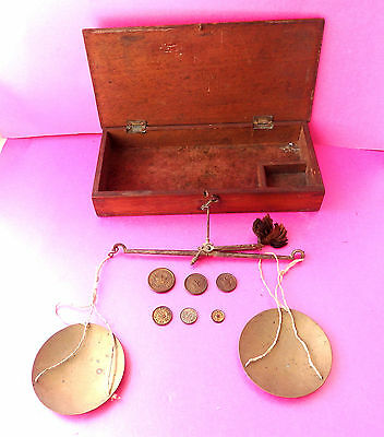 Antique Apothecary Balance Scales & Weights In Mahogany Fitted  Box.