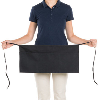 6 pack heavy duty cocktail apron black 12x20 3 pockets tips server money pockets
