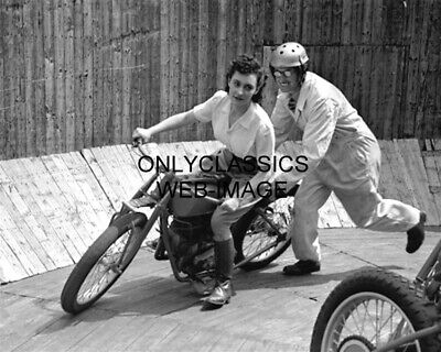 Tornado Smith Maureen Swift Motorcycle Wall Of Death Photo Daredevil Stunt Rider