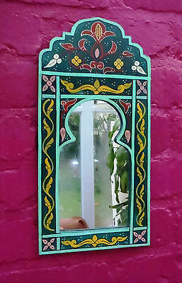 Beautifully Hand Painted Arched Mirror from Morocco * GREEN *