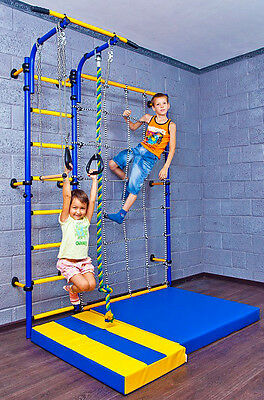 Kids Playground with Exercise Equipment Cargo Net, Trapeze Bar Swing Set, Rings