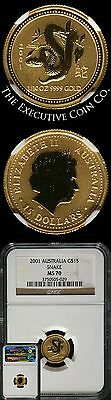 2001 1/10 Ounce $15 Year of the Snake Australia Lunar Gold Series 1 NGC MS70