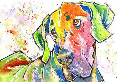 GREAT DANE Hound Dog PRINT of ORIGINAL WATERCOLOUR Painting Picture by Josie P