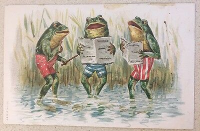 VINTAGE POSTCARD 3 DRESSED FROGS SING IN THE SWAMP A & B.M. No 283 Fantasy