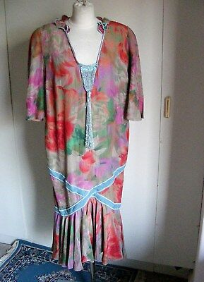 Vintage theatrical dress 1920s silk floral fabric with pale blue tassle front be