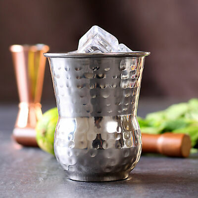 Moroccan Stainless Steel Hammered Tumblers 14oz / 400ml - Set of 6