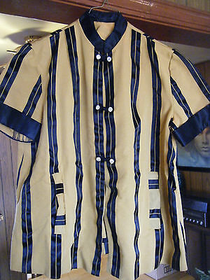 Vintage  Handmade CHINESE Women's Shirt Blouse Gold & Black striped small