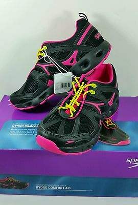 Speedo® Ladies' Hydro Comfort 4.0 Water Shoes - BLACK/PINK Size 8 Fast Ship NEW