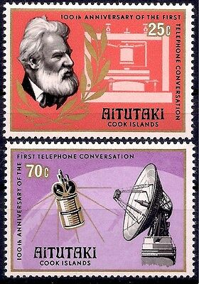 Aitutaki 1977 First Telephone A. Bell Communications Dish Aerial Radio 2v MNH