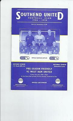 Southend United v West Ham United Friendly Football Programme 1998/99