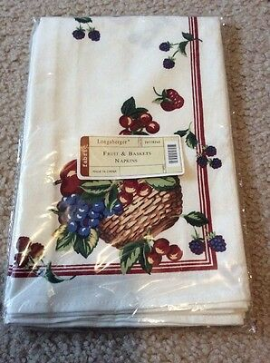 "Longaberger Set of Two Fruit & and Baskets 19"" Square Fabric Napkins - NEW"