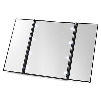 Portable Tri-Fold 8 LED Lighted Travel Mirror Compact per Cosmetic Makeup MT294