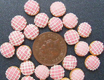 1;12 Scale 7 Pink Donuts With White Squares Dolls House Miniatures Bakery S14