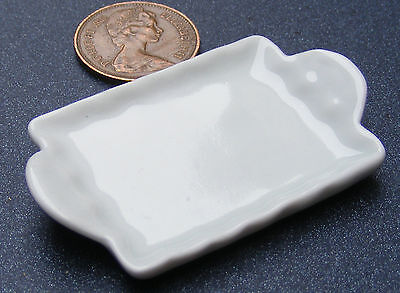 1:12 Scale Large White Ceramic Tray Dolls House Miniature Kitchen Accessory W67