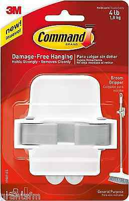 3M Command Adhesive Sticky No Nails Wall Broom Mop Holder Gripper White