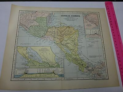 1902 Map of Central America with inset of Proposed Nicaragua Canal
