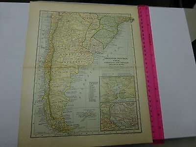 1902 Map of Argentine Republic, Chile, Paraguay and Uruguay