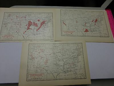 1902 Lot of 3 maps showing Gas & Petroleum, Coal & Gold, Silver & Copper Fields