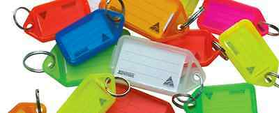 Kevron Clicktag Plastic Keyrings Tag 100 Key Tags ID5 red blue assorted clear