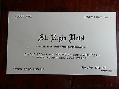 Antique c1899 St. Regis Hotel Business Card North Bay Ontario Canada Rate $2